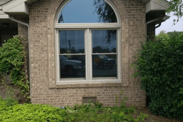 Beige Double Hung Windows with Half Round