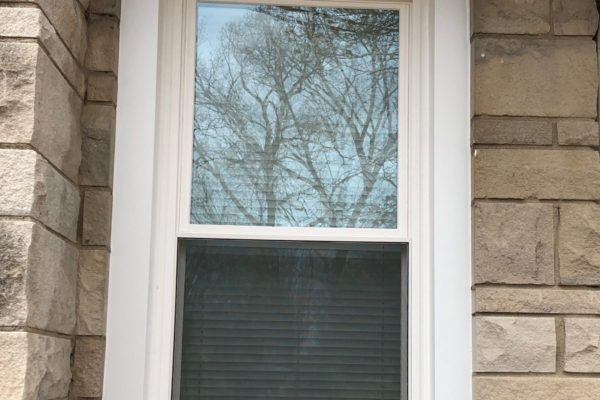 Double Hung Window with White Exterior Wrapping