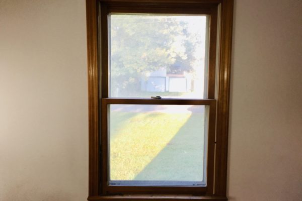 Double Hung Window w/Cherry Woodgrain Finish